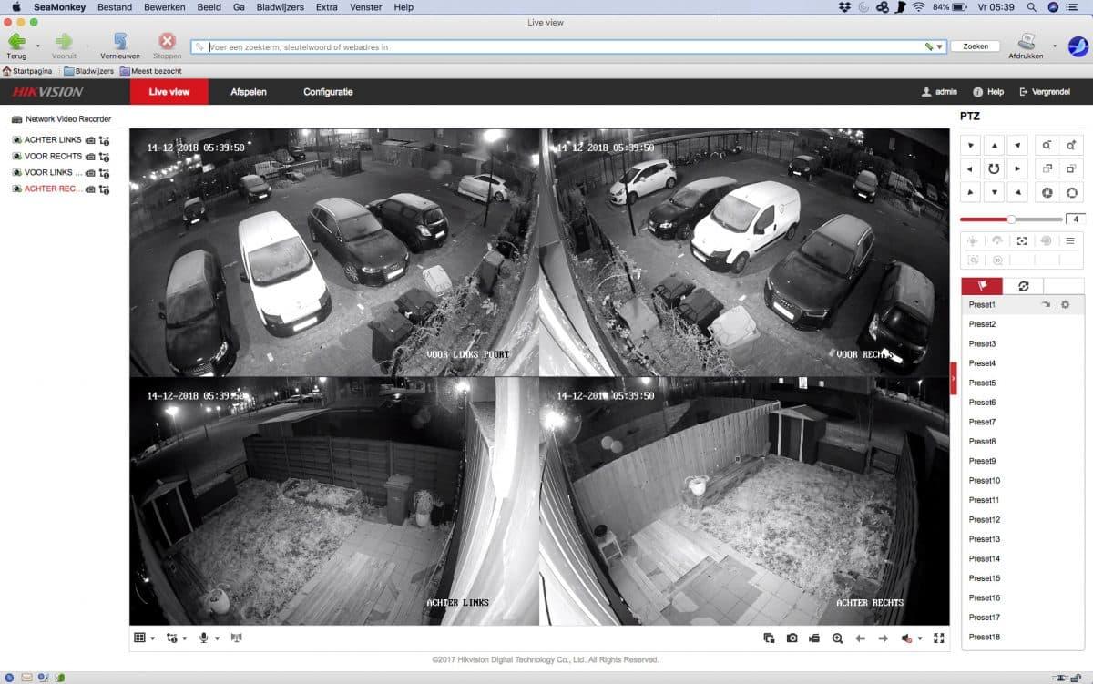 Bewakingscamera bekijken in safari zonder Hikvision plugin