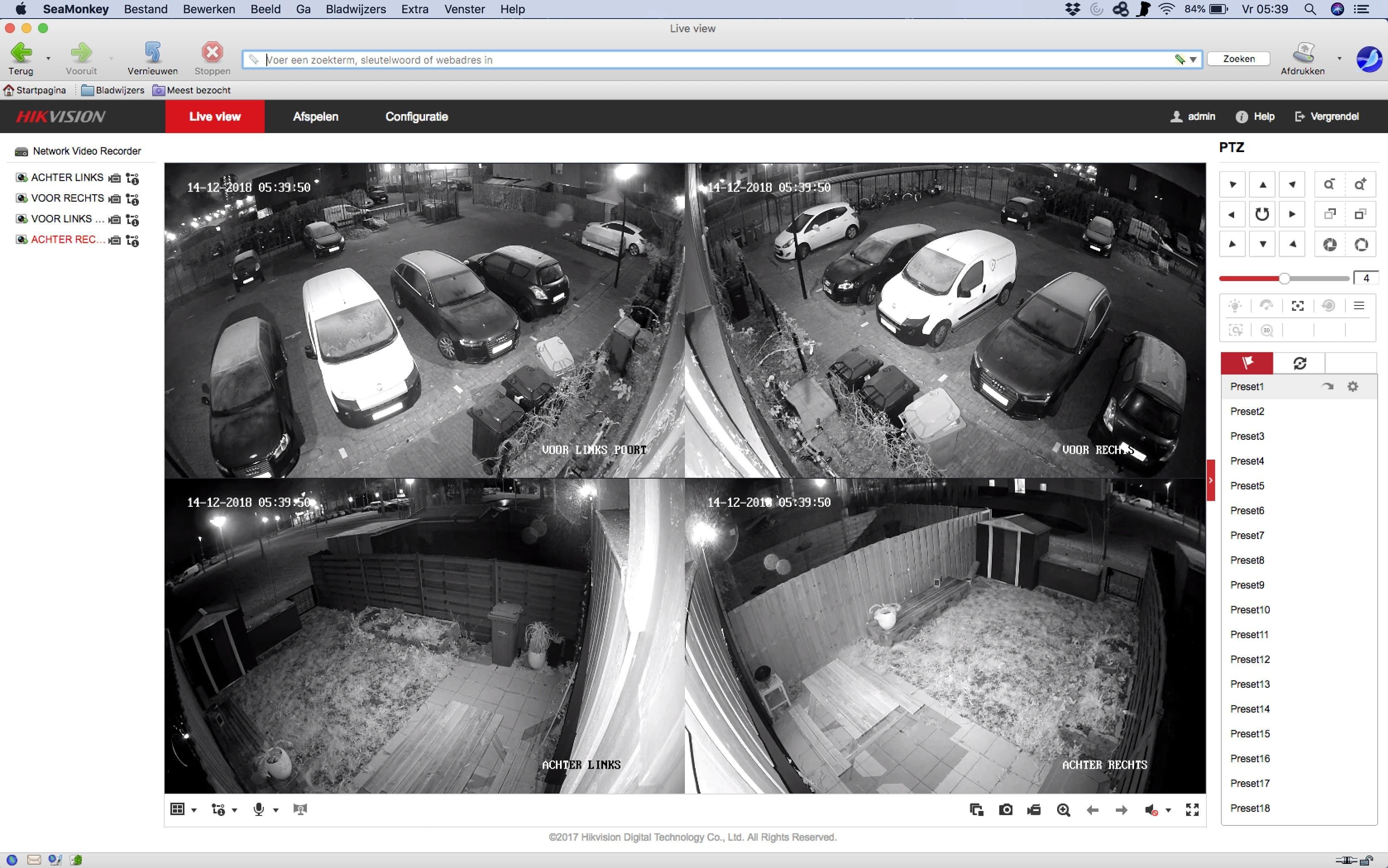 Camerabeelden op browser
